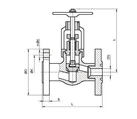 Клапан запорный сальниковый, L=220